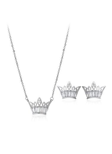 Tophills Diamond Co. 1,80 Ct Pırlanta Efekt Altın Crown Trapes Set Renkli